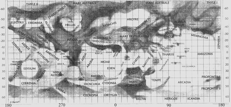 Χάρτης του Άρη από τον τον Mario Frassati.