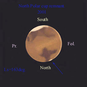 Drawing of Martian Summer North Polar Cap remnant