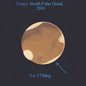 Drawing of dense North Polar Hood of Mars 2001