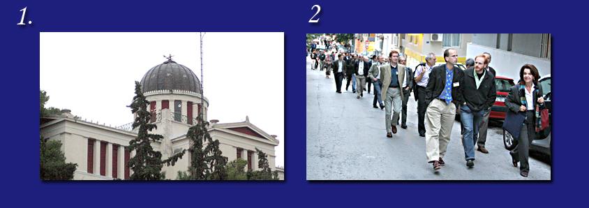 Η βιβλιοθήκη του Αστεροσκοπείου του λόφου των Νυμφών στο Θησείο, και οι σύνεδροι που κατευθύνονται προς το Θησείο.