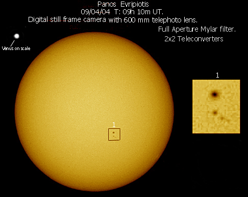 Φωτογραφία του Ήλιου (από τον Πάνο Ευριπιώτη) με το δίσκο της Αφροδίτης σε σύγκριση