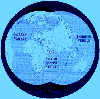 Περιοχές της Υδρογείου όπου κάποιος μπορεί να δει όλη, ένα μέρος, ή κανένα μέρος της διάβασης της Αφροδίτης στις 8 Ιουνίου του 2004.