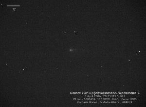 Εικόνα του 73P/Schwassmann-Wachmann-3 (κομμάτι C) την 1 Απριλίου 2006, από τον Μάνο Καρδάση.