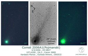 Εικόνες του κομήτη A1 Pojmanski στις 4 Μαρτίου 2006, από τον Μάνο Καρδάση.