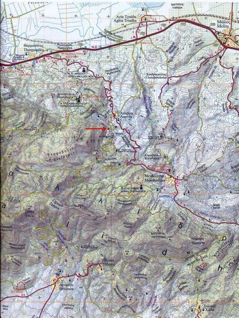 Χάρτης τοποθεσίας του καταφυγίου Ανάβρας (ΟΣΠ).