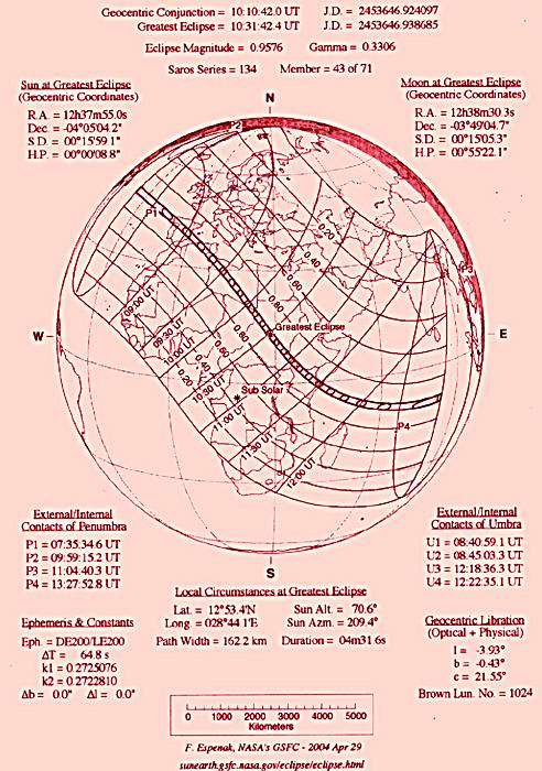 Ο γενικός χάρτης ο οποίος αφορά την δακτυλιοειδή έκλειψη Ηλίου στις 3/ 10/ 05 και τα στοιχεία που την αφορούν. (F. Espenak))