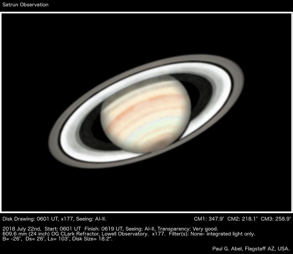 """Σχέδιο του Κρόνου από το 24"""" διοπτρικό τηλεσκόπιο στο αστεροσκοπείο Lowell, ΗΠΑ. (Paul G. Abel)"""