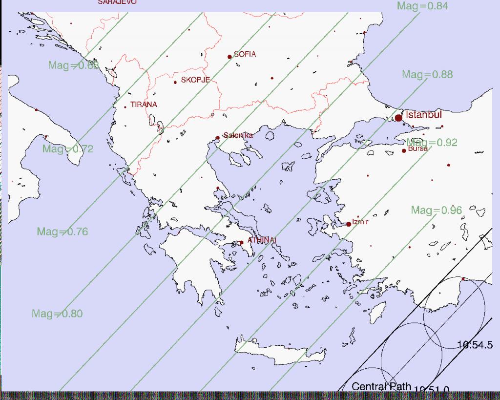 Χάρτης της Ελλάδας με τα ποσοστά κάλυψης του δίσκου για κάθε περιοχή. (Arnold Barmettler, www.CalSKY.com)
