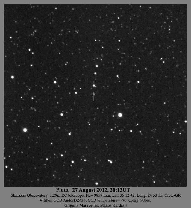 Εικόνα 1. Ο Πλούτωνας μέσα από τηλεσκόπιο διαμέτρου 1.3μ του πανεπιστημίου Κρήτης στον Σκίνακα.